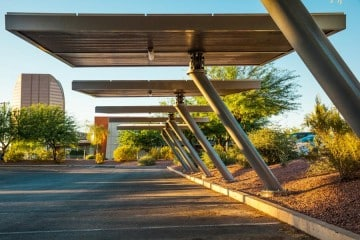 Solar Wing parking structure with electric vehicle charging