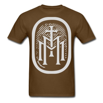 the majestys men tshirt mens tmm bold monogram front brown