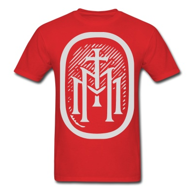 the majestys men mens tmm bold monogram front red tshirt