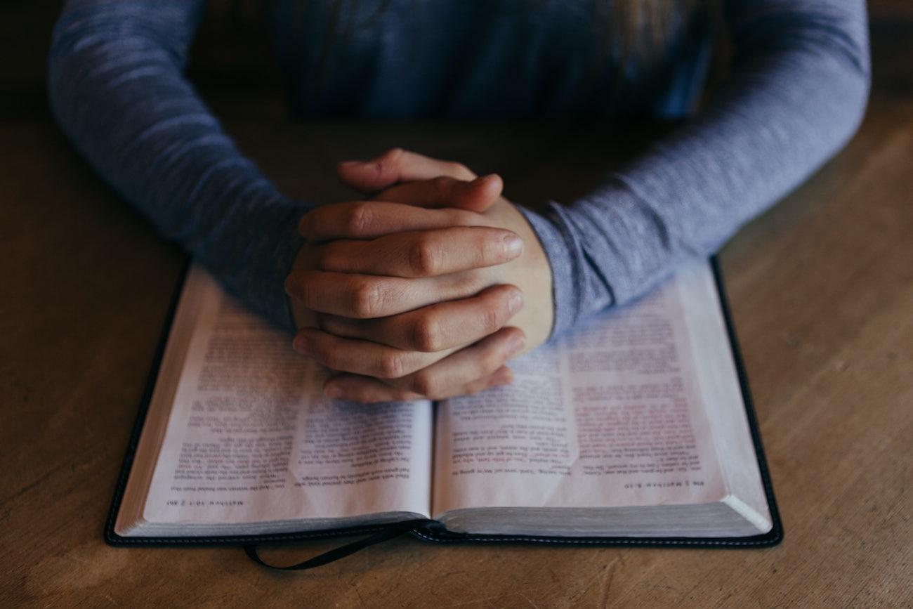 how to pray examine lord's prayer praying hands bible image