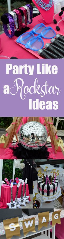 Rockstar Birthday Party Ideas Decorations diys kids girls pink black purple crafts the makeover mom blog jojo siwa