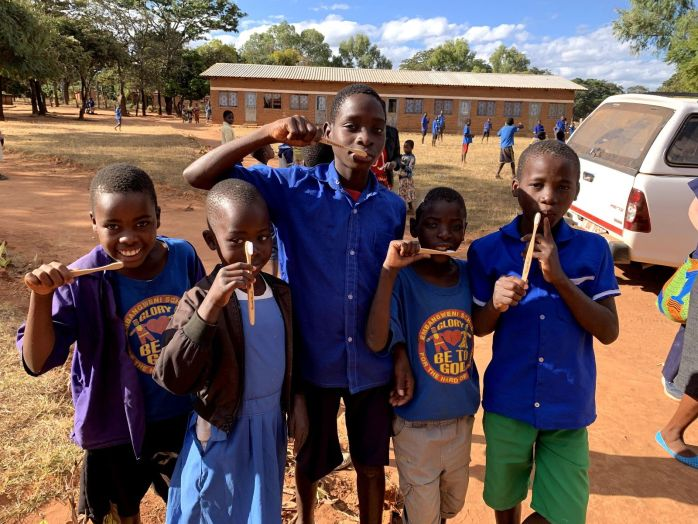 Children at Ebangweni School for the Deaf receiving their bamboo toothbrushes donated by Humble.pic 1