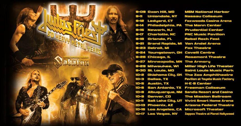 Judas Priest firar 50 år. Tar med Sabaton på stor USA turné!