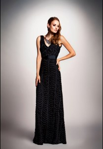 Dalia MacPhee black textured gown