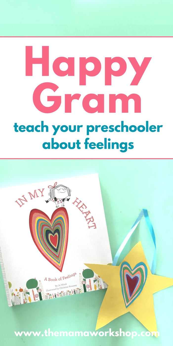 We are loving this In My Heart Book Craft! It's so fun to take someone a happy gram and teach my preschooler about feelings. Make one too!