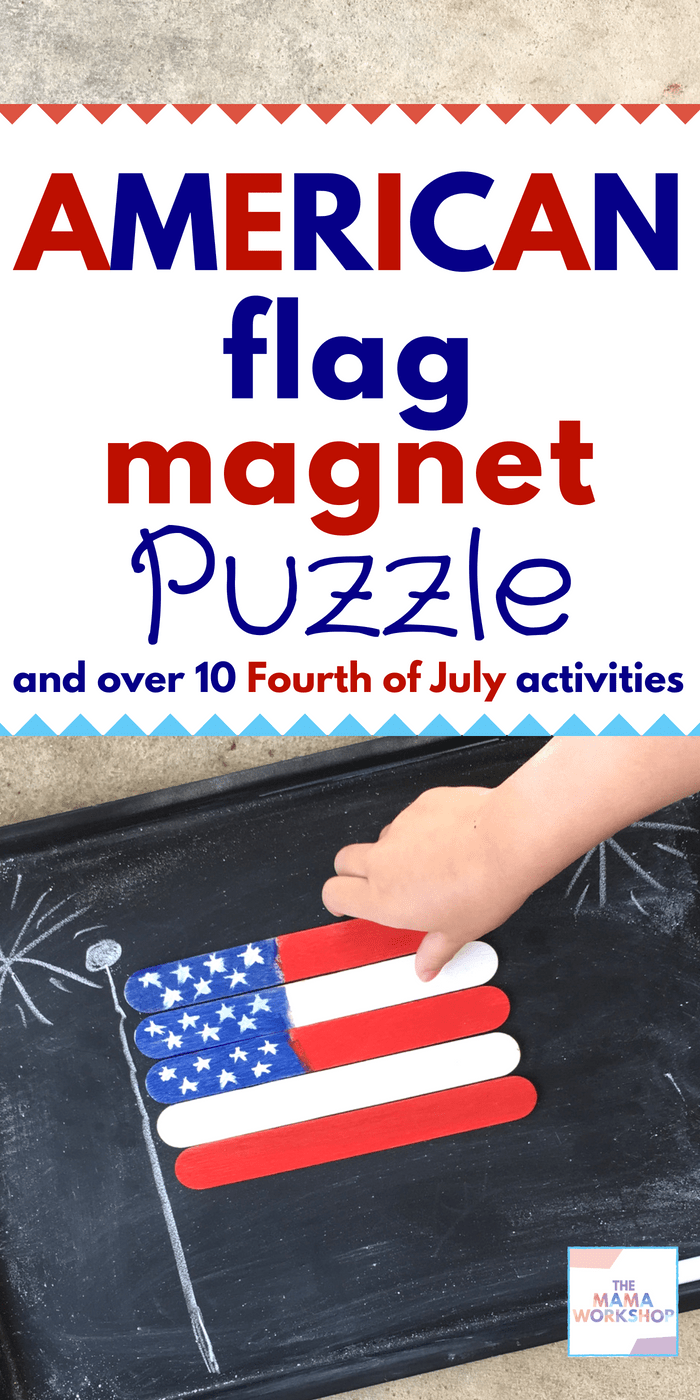 Happy 4th of July! Here's an American Flag Puzzle you can make with your kiddos! Plus, I curated a list of fun patriotic activities to do with your kids!