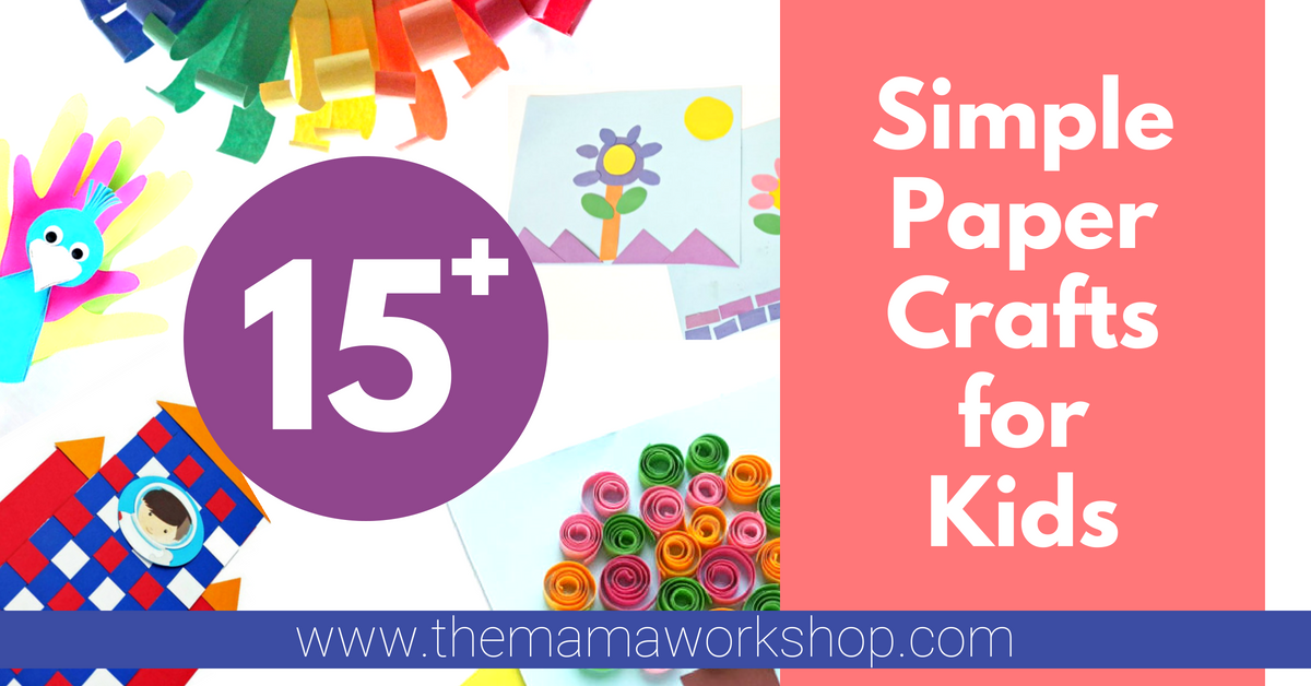 Here are some simple paper crafts for kids that don't require you to take a trip to the store! And the kiddos will have so much fun! High fives all around.