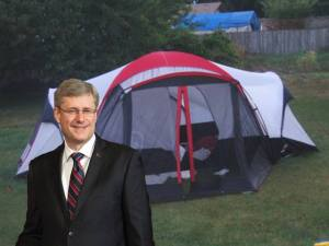 Illiterate Fredericton man upset that Harper camping in New Brunswick
