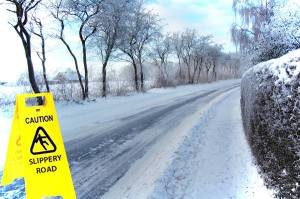 Government dealing with icy roads using caution signs only