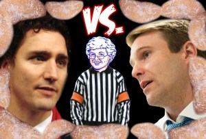 Justin Trudeau meets Brian Gallant in Sussex for donut-eating contest