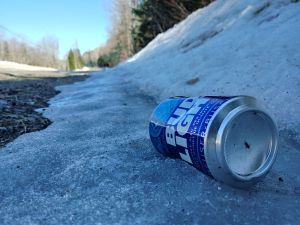 Bud Light can on side of road marks first sign of spring in NB