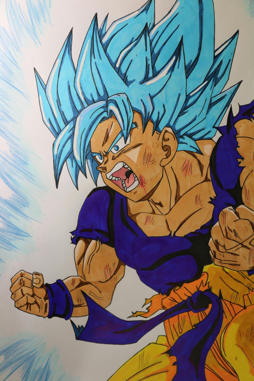 Comment Dessiner Goku Ultra Super Saiyan Blue Manga Drawing