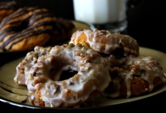 Pumpkin Doughnuts with Salted Caramel Glaze
