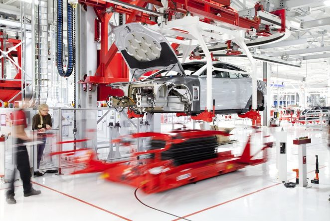Tesla Model S in production in California
