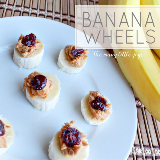 Quite possibly the easiest snack food to make, banana wheels combine peanut butter, bananas, and Craisins to make a perfect kid-sized food for your little ones.