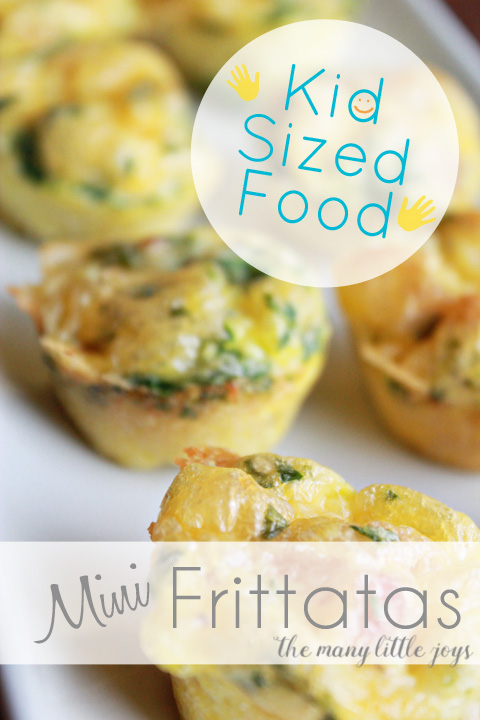 Kid Sized Food - Mini Egg Frittatas. Easy, protein-packed and veggie-filled breakfast perfect for little hands.