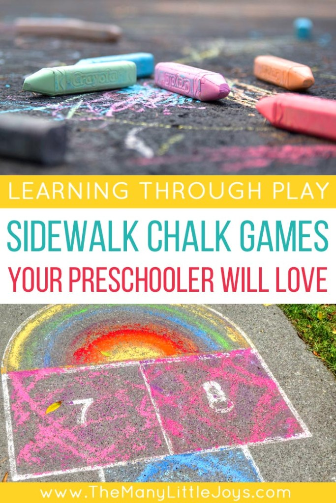 Take your learning outside and try these fun sidewalk chalk games to play with kids. Who knew you could teach your preschooler the alphabet, numbers, and so much more all with one simple piece of chalk?!