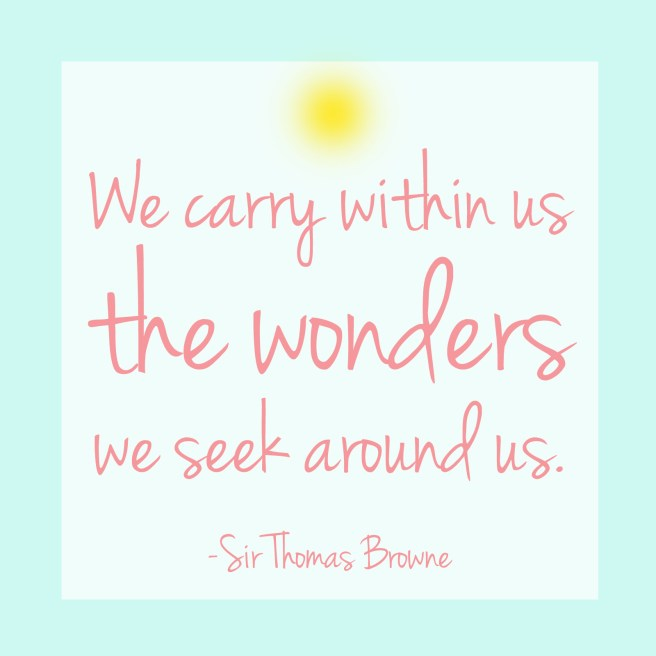 We carry within us the wonders we seek around us.