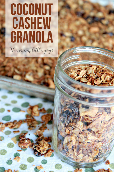 This homemade coconut cashew granola is a perfect blend of crunchy and not-too-sweet that is delicious on its own or as a topping for your favorite yogurt and fruit parfait!