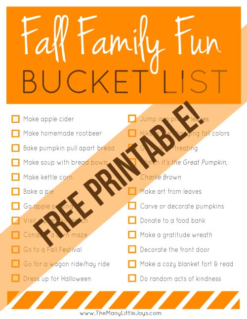Celebrate the coming of fall with this family fun bucket list. Be reminded of classic fall activities, and discover some new traditions to try as well!
