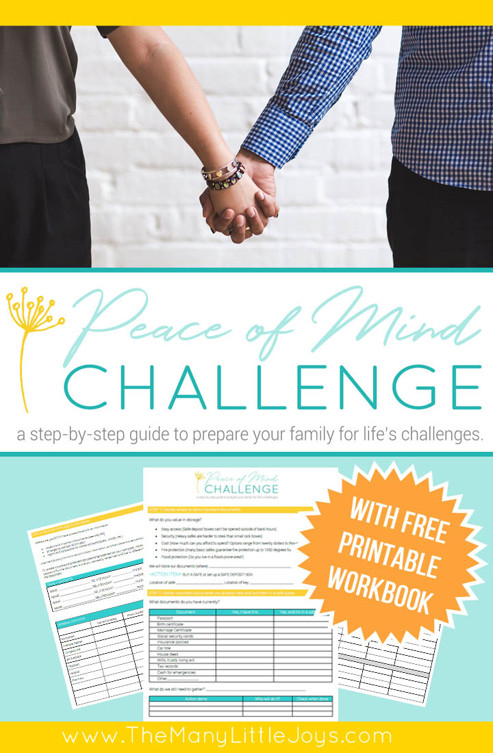 Life doesn't always go as planned, and it's essential to prepare for life's unexpected challenges. Join the Peace of Mind Challenge--a step-by-step guide to get young families on the road to physical and financial preparedness...just in case.