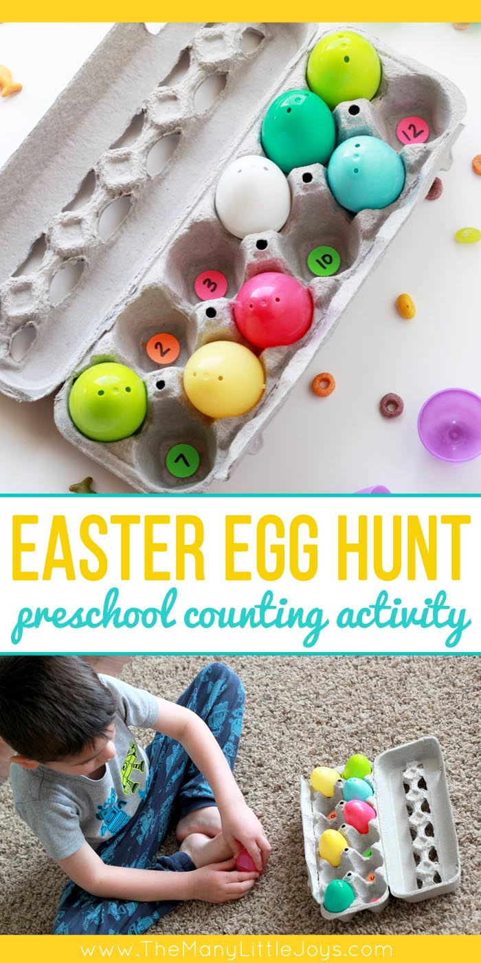 Looking for a fun Easter-themed learning activity for your preschooler? Encourage your preschooler to practice number identification and counting skills using this Easter egg hunt with a math skills twist!