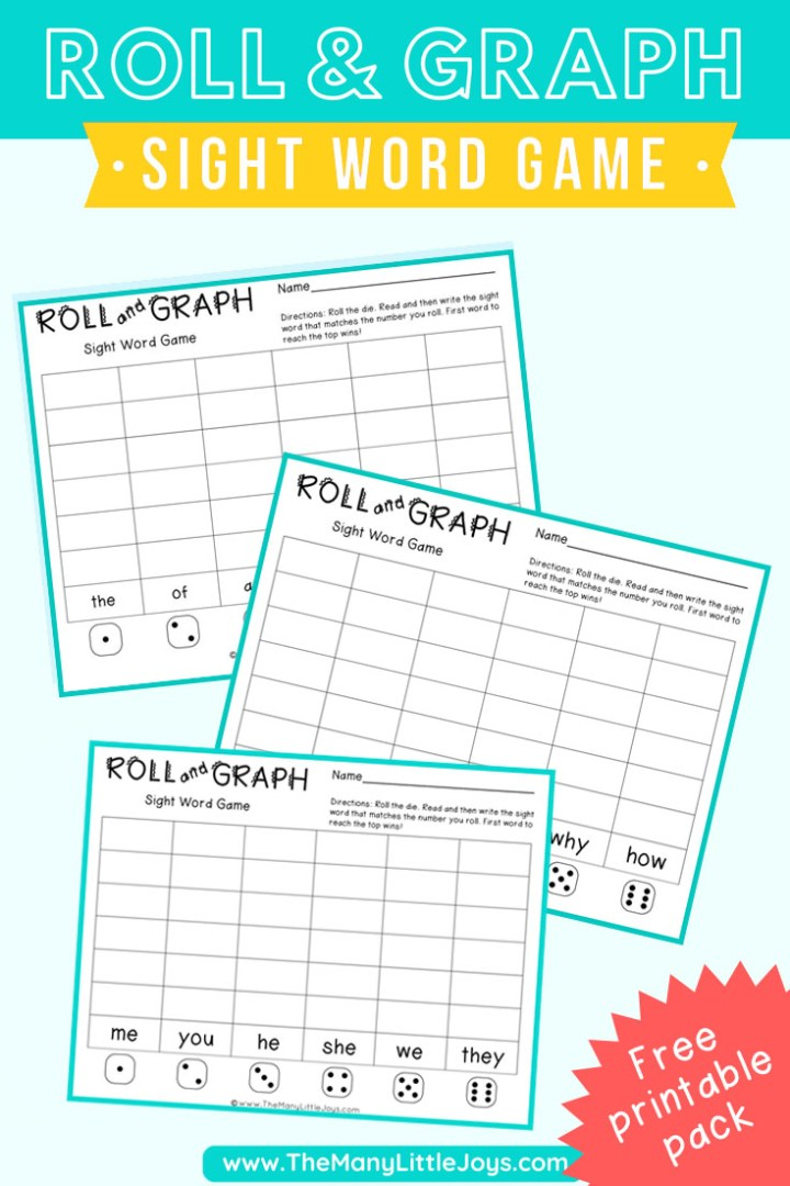 """Looking for a way to make reading practice fun? This printable """"roll and graph"""" sight word game is a great way to get beginning readers to practice reading and writing skills in a play-based setting."""