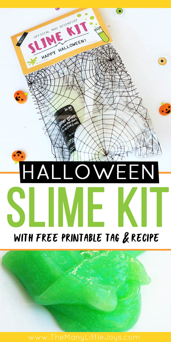 """Looking for a fun and inexpensive Halloween gift?This DIY Halloween slime kit (with free printables!) is a perfect way to say """"boo"""" to the neighbors or to send some last-minute love to any kids in your life--without adding to the crazy sugar rush of the season."""