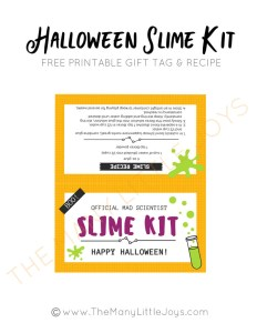 "Looking for a fun and inexpensive Halloween gift? This DIY Halloween slime kit (with free printables!) is a perfect way to say ""boo"" to the neighbors or to send some last-minute love to any kids in your life--without adding to the crazy sugar rush of the season."