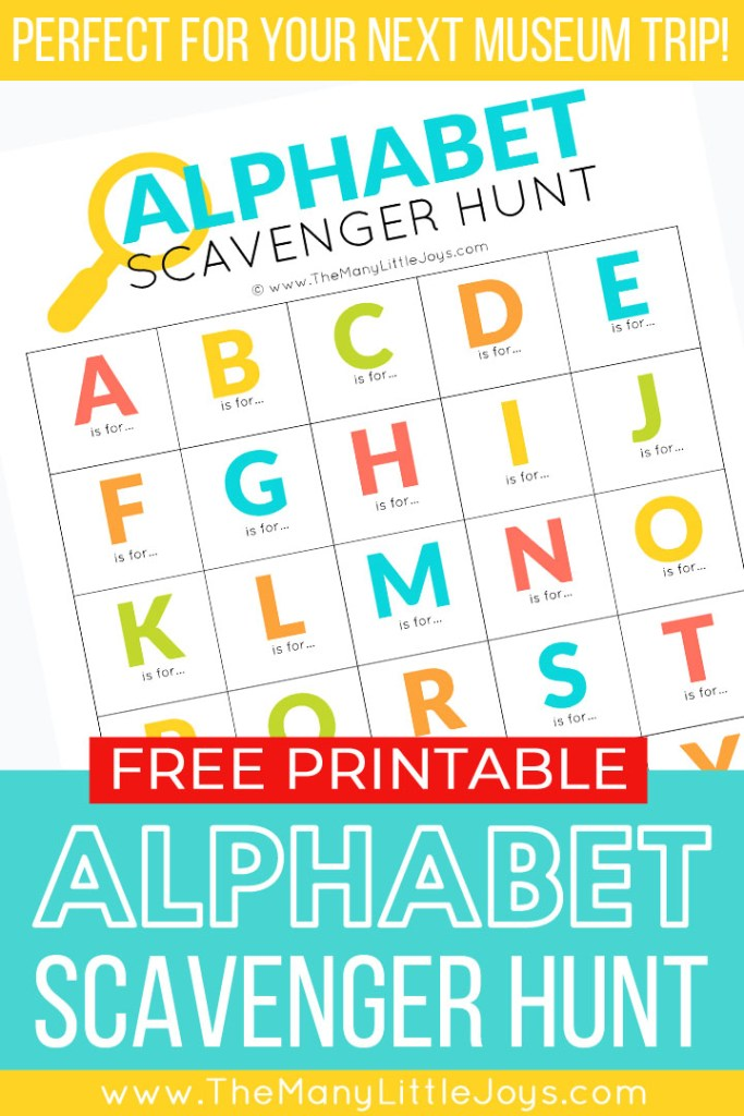 Make your next trip to a museum an exciting challenge with this free printable alphabet scavenger hunt. Whether it's your first visit or you 50th, this activity is a great way to liven up learning time.