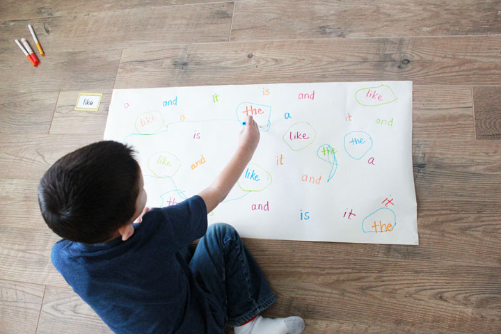 This giant search-and-find learning game is super low prep, and can be used to teach kids just about anything: letters, numbers, sight words, and more!