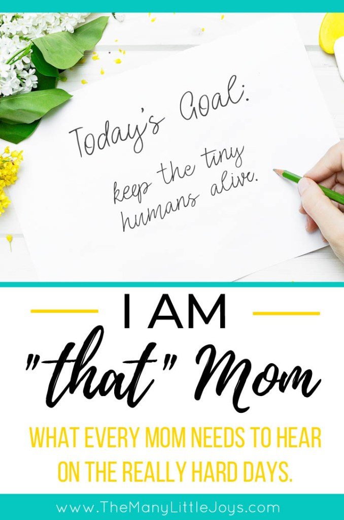 """If you ever feel discouraged that you are """"that"""" mom you always said you'd never be, take heart and remember that you are doing more good than you think you are."""