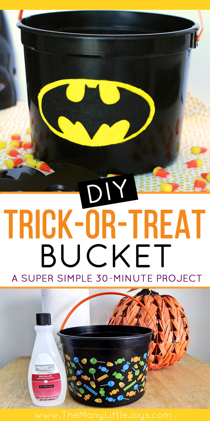 Make a custom Halloween trick-or-treat bucket for your kids in thirty minutes or less with this simple tutorial that (truly) ANYONE can do.