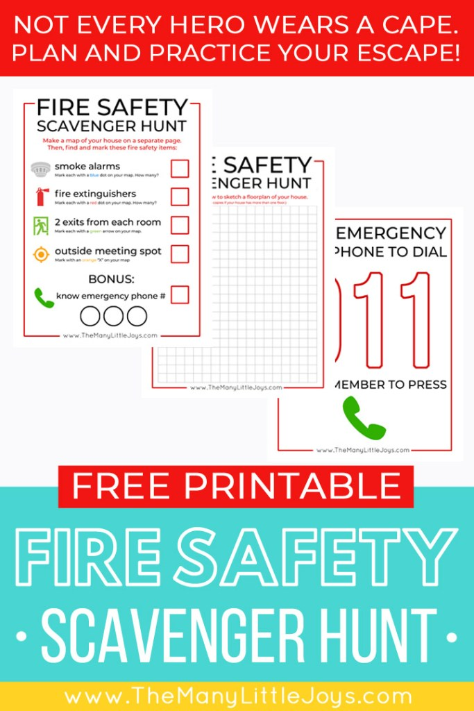 Teach your kids essential fire safety tips with this free printable fire safety scavenger hunt. Have fun with your kids and get peace of mind, too!