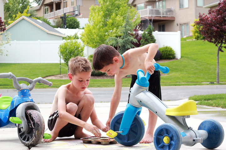 Kids playing outside in summer