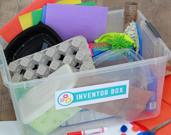 inventor box filled with recyclables