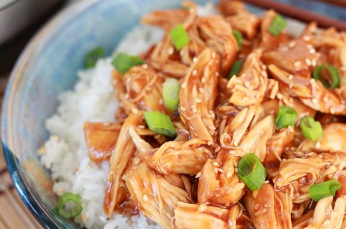 Instant Pot honey garlic chicken over rice