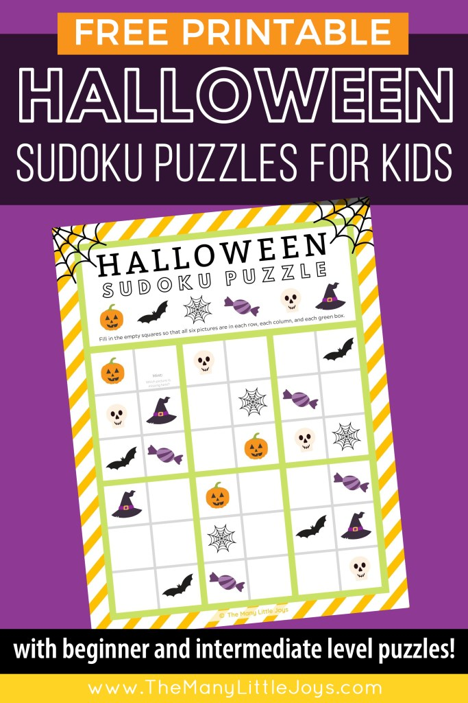 Need a no-prep Halloween activity to entertain your little goblins this Halloween? Challenge them to solve one of these free printable Halloween sudoku puzzles for kids!