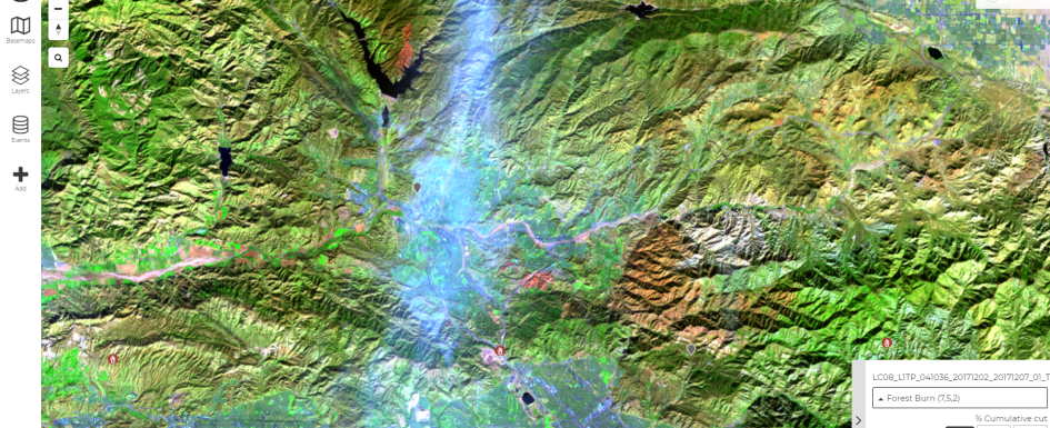 Screenshot from Disaster Watch displaying Forest Burn in California