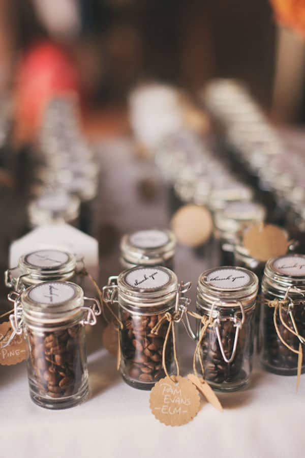 Coffee Bean Jar Wedding Favors