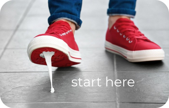 red tennis shoes as a starting point