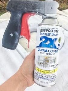 Spray Painting a playhouse
