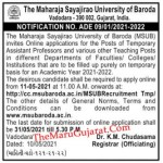 MSU Baroda Recruitment For Temporary Assistant Professor And Various Other Teaching Posts 2021