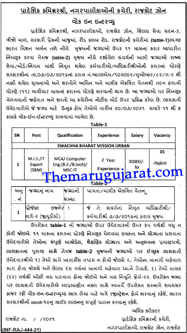 Regional Commissioner Municipality Rajkot Zone Recruitment For Project Engineer Vacancy 2021