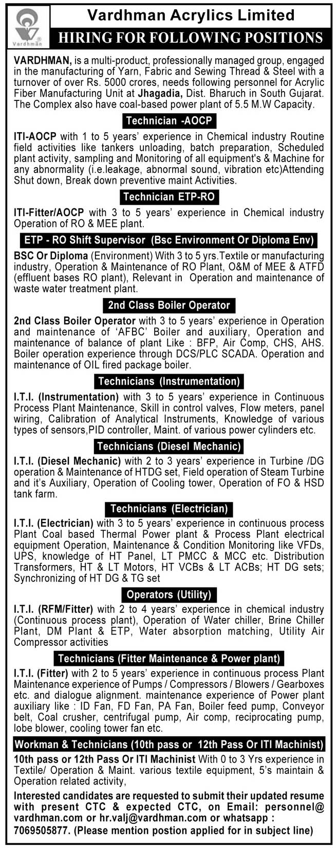 Vardhman Acrylics Limited Jobs 2021 - Workman & Technicians And Other Posts