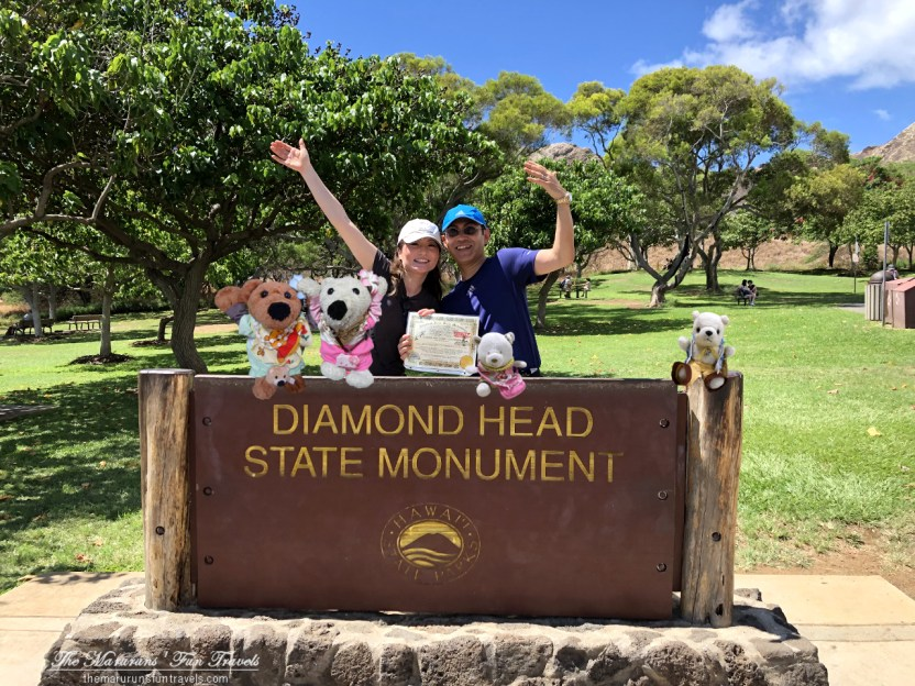 A Memorable Family Travel Photo taken with The Diamond Head Park Sign