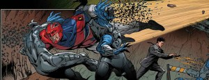 Captain Britain and Pete Wisdom taking down some bad guys in Captain Britain and MI-13.
