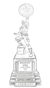 Sketch of Captain America's statue to be making its home in Brooklyn beginning August 10th.