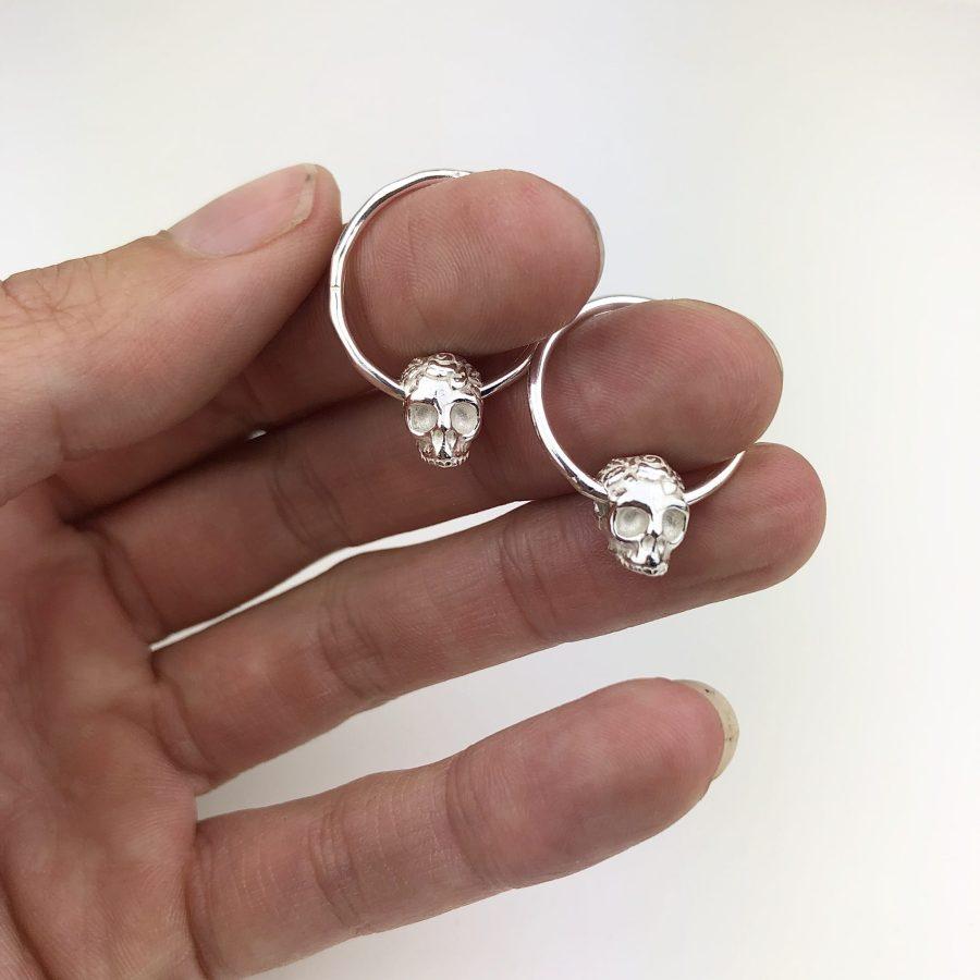 Silver skull hoops
