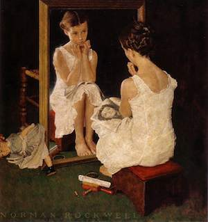 """""""Girl at the Mirror"""" by Norman Rockwell"""